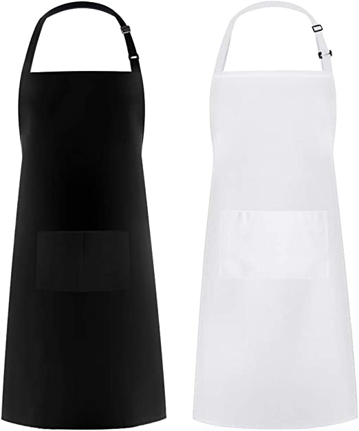 Syntus Adjustable Bib Apron Thicker Version Waterdrop Resistant with 2 Pockets Cooking Kitchen Aprons for Women Men Chef, White & Black Pack of 2