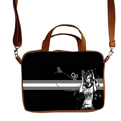 Snoogg bemalt Mädchen Designer, 38,1cm Zoll auf 39,4cm Zoll zu 39,6cm Zoll Kunstleder Laptop Notebook Schuber Sleeve, der Fall mit und Schultergurt für MacBook Pro Acer Asus Dell HP Sony Toshiba