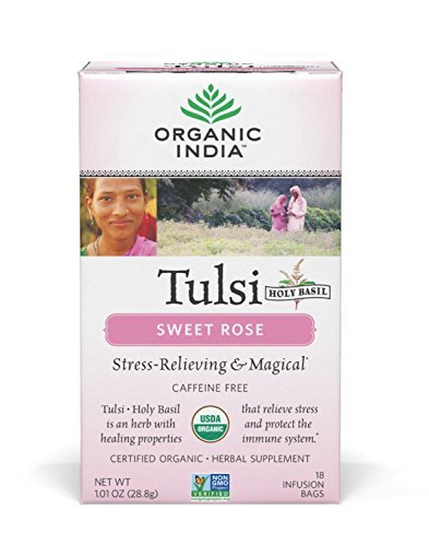 Organic India Tulsi Caffeine Free Tea, Sweet Rose, 18 Count ()