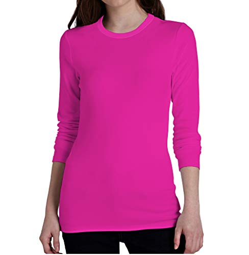 Miracle(Tm) Neon Athletic Wicking Underscrub Shirt - Adult Womens High Visibility Long Sleeves Sleeves Pink Shirt (M)