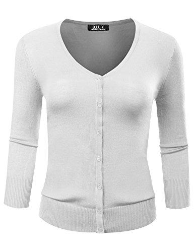 BILY Women's V-Neck Button Down 3/4 Sleeve Soft Classic Knit Cardigan White Large (V-neck Sleeve 3/4 Cardigan)