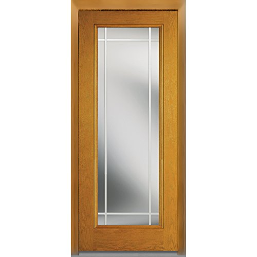 National Door Company Z007040L Fiberglass Oak, Fruitwood, Left Hand In-swing, Exterior Prehung Door, Internal Grilles Full Lite, 36''x80'' by National Door Company
