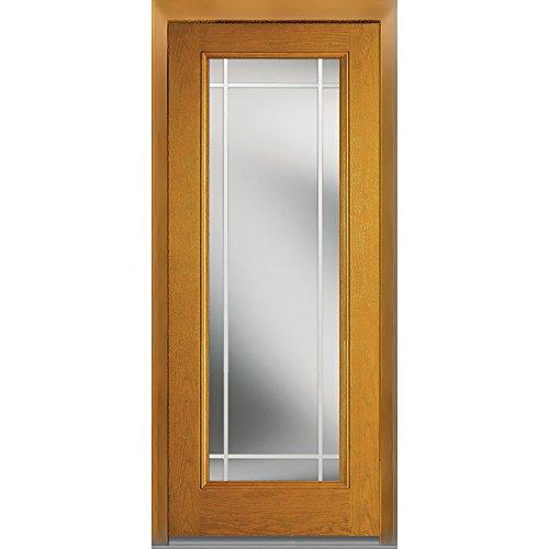 National Door Company Z007037R Fiberglass Oak, Fruitwood, Right Hand In-swing, Exterior Prehung Door, Internal Grilles Full Lite, 32''x80'' by National Door Company