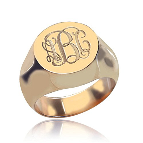 Sahaa 925 Sterling Silver Personalized Signet Initial Ring Custom Monogram Ring for Women
