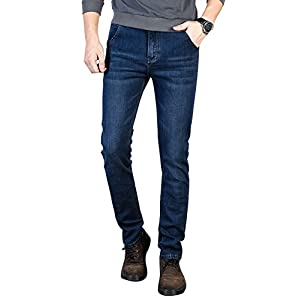 Plaid&Plain Men's Stretch Jeans Slim Fit Tapered Jeans