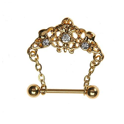Diamondo Lock Dangle Nipplerings Piercing Women Sexy Rhinestone Chain Barbell Golden - Lock Dangle