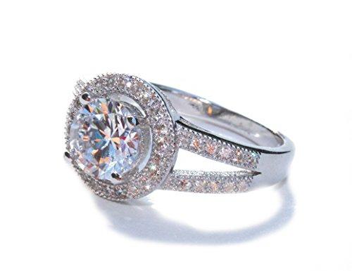 925 Sterling Silver Split Shank Bridal Engagement Ring