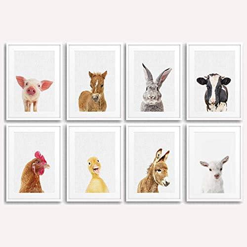 動物ポスター保育園キャンバス絵画バニー壁アート赤ちゃん動物ポスタープリント写真リビングルーム寝室の装飾-21×30センチ×8ピー