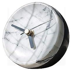 MAYROOM Natural Ebony Stone Marble Quartz Clock Home Decoration Art Design Silent Large Stylish Decorative Modern Luxury Design Desk Clock for Living Room Bedroom Office,White