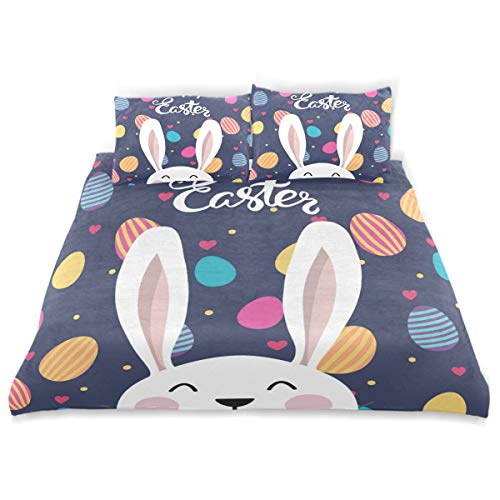 ALAZA 3 Pieces Happy Easter Bunny Rabbit Egg Duvet Cover wit