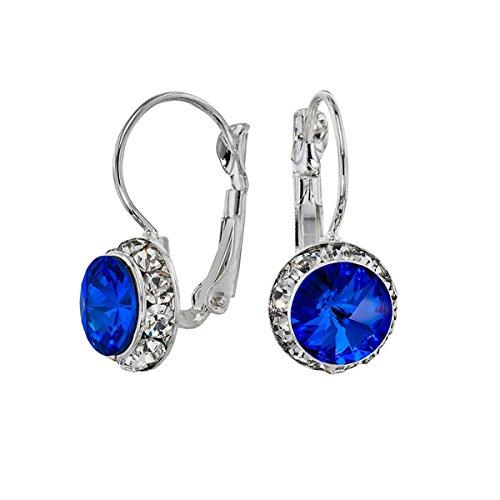 - Euro Wire Earrings Styles By JS Swarovski Crystals Rondelle Birthstone Earrings (09 - Sapphire Blue - September)