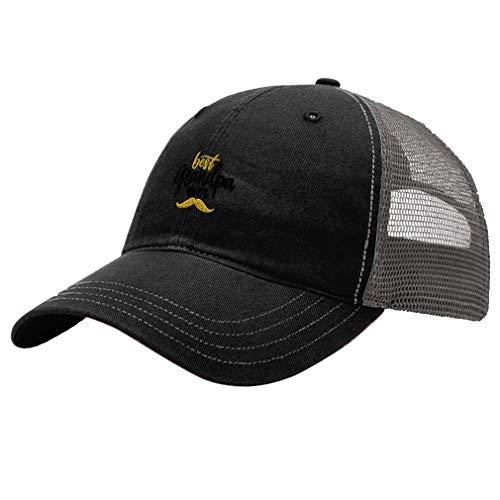 Custom Trucker Hat Richardson Best Grandpa Ever Mustache A Embroidery Cotton Soft Mesh Cap Snaps Black/Charcoal Design Only]()