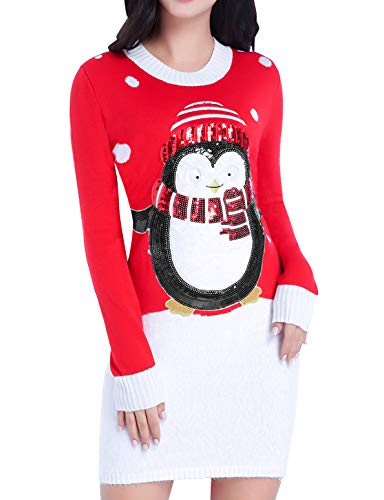 Women Christmas Sweater, V28 Ugly Shining Penguin Xmas Sweater Knit Jumper Dress (XX-Large, Cute Penguin Red) ()