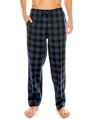 (TINFL Men's Lounge Cotton Plaid Check Pajama Long Pants PM-SB003-Blue L)