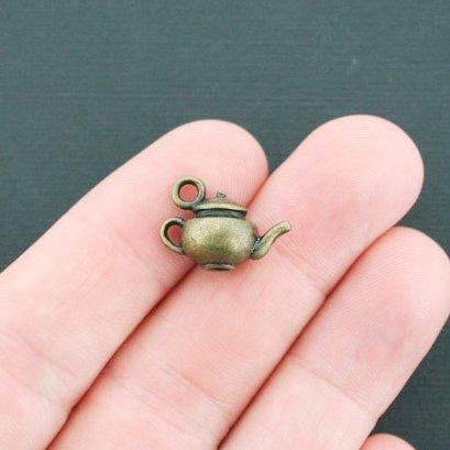 6 Teapot Charms Antique Bronze Tone 3D 18x13x10mm (CB187)