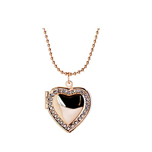 Ztuo Women Friend Memory Picture Photo Frame Living Pocket Heart Crystal Floating Locket Necklace Gold