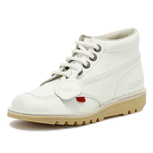 Kickers Womens White Leather Kick Hi Boots-UK 3 (Womens Kickers)