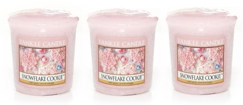 3 Yankee Candle SNOWFLAKE COOKIE Sampler® Votive Candles 1.75 oz each (Snowflake Votive)