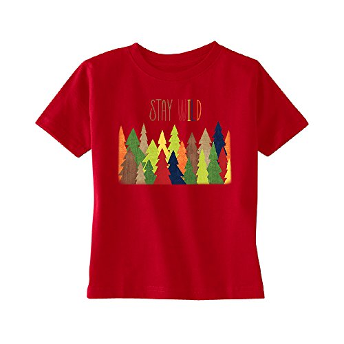 Zexpa Apparel Stay Wild Live in Forest Toddler T-Shirt Colorful Wild Trees Kids Red 3T by Zexpa Apparel