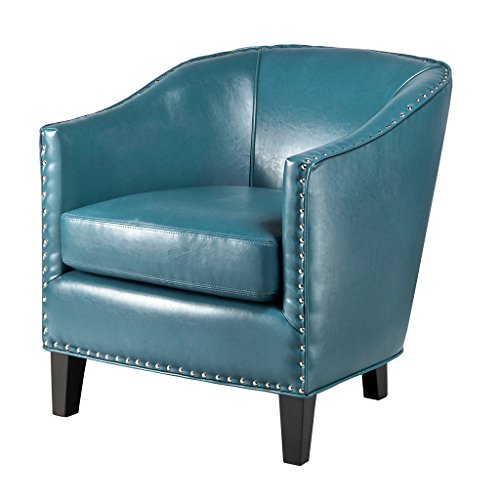 - Madison Park Fremont Accent Chairs - Hardwood, Plywood, Faux Leather, Bedroom Lounge Mid Century Modern Deep Seating, Club Style Barrel Armchair, Living Room Furniture, Blue