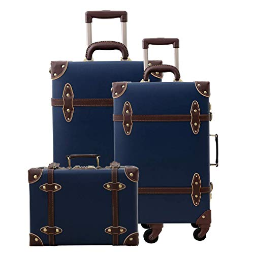 Uretravel Vintage Luggage Sets Lightweight Women Leather Suitcase/Trunk, Set of 3