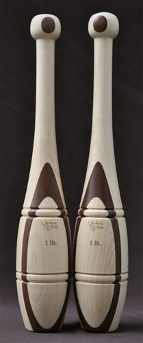Indian Clubs Introduction Set - Two 1lb & Two 2lb Walnut & Maple Clubs with Training DVD by Revolution Clubs (Image #1)