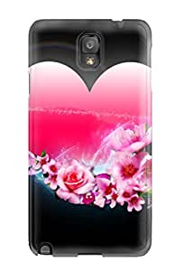 Best Shock-dirt Proof Heart & Flowers Case Cover For Galaxy Note 3 9004842K78475781