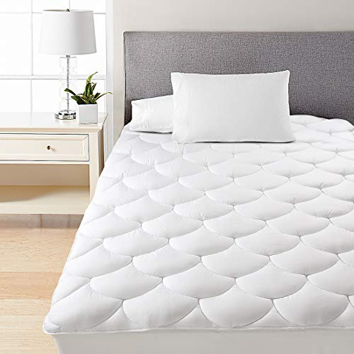 - HEPERON Queen Quilted Fitted Mattress Pad Cover Cooling, Multi-Use, Reversible,Overfilled Mattress Topper with 8-21-Inch Deep Pocket,Down Alternative(Queen White)