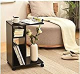 WSTECHCO Modern End Tables Living Room Wooden,Black Sofa Side Table Storage Magazine Wheel Night Stand Bedroom, Movable Tea Coffee Table Wooden Table