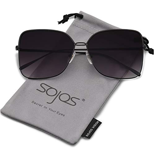 SOJOS Fashion Oversized Square Sunglasses for Women Flat Mirrored Lens SJ1082 with Black Frame/Gradient Grey -