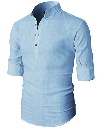 h2h-mens-simple-designed-roll-up-sleeve-popover-shirt-sky-us-m-asia-l-kmtstl0291