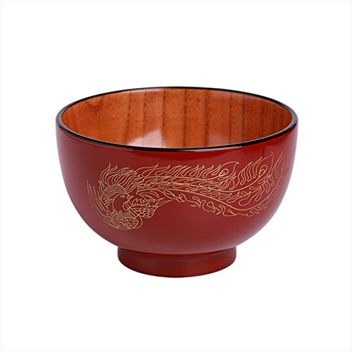 Dragon Phoenix Bowl - Cereal Bowl Wooden High-Grade Bowl Exquisite Wedding Gift Bowl Dragon And Phoenix Bowl Soup Bowl,A