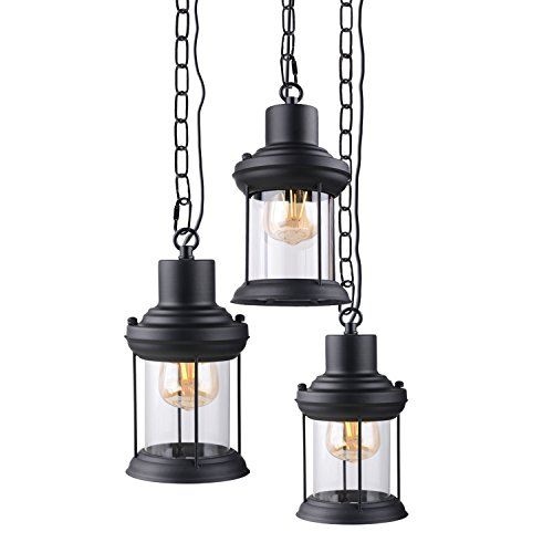 HOOOM Industrial Style Rope Ceiling Pendant Lights Mini Cage Vintage Glass Finish Metal Shade Loft Nostalgic Cage Guard Art Deco(BL-603 Black)