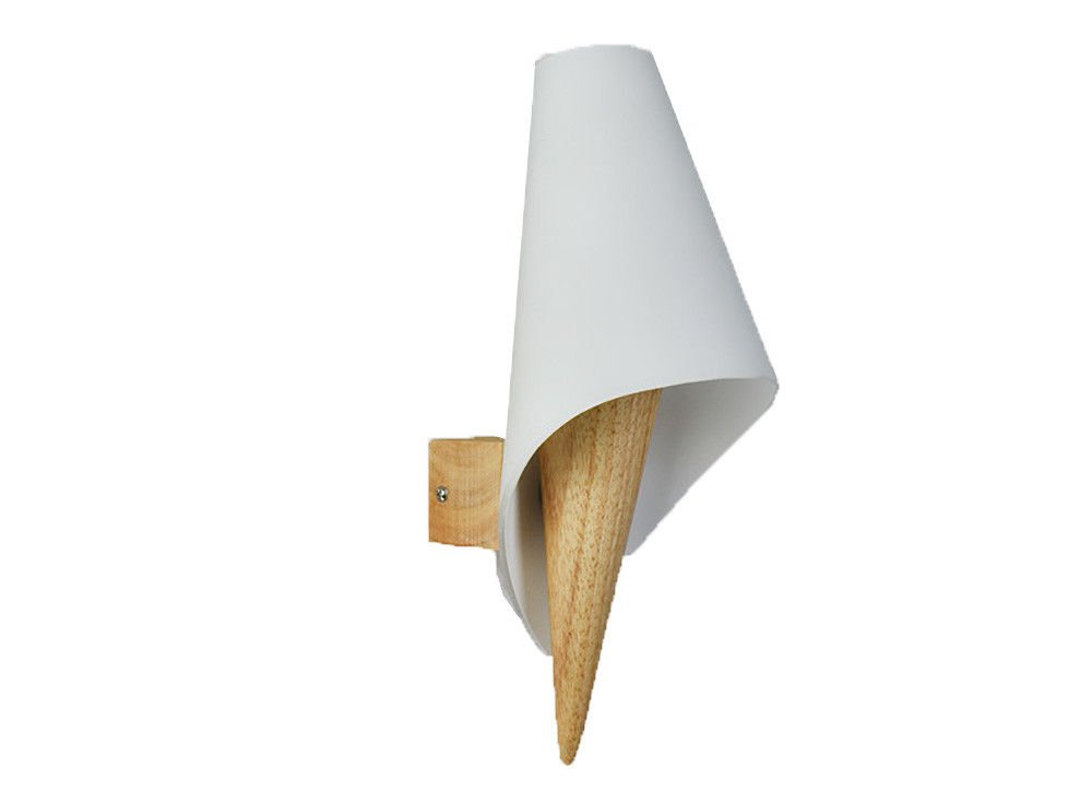 Wall Lamps,Modern Creative Simple Bedside lamp Bedroom Wall LED Living Room Aisle Stair Solid Wood Apricot White Bracket Light