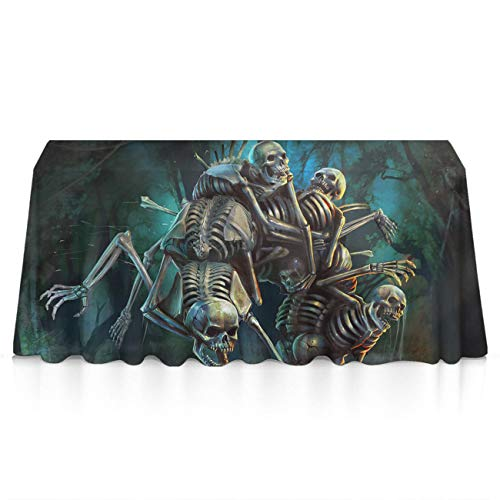 GLORY ART Halloween Horror Skeleton Rectangle Tablecloth Water Resistant Spill Proof Table Cloth 52x70 inches for Indoor or Outdoor Parties,Dinner,Wedding, Birthday, Picnic, X-mas, Holiday]()