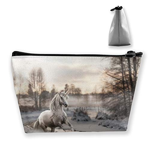 CORPDA Unicorn Running in The Snow by The Creek Travel Cosmetic Bag Storage Bag