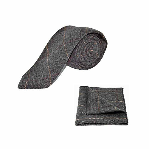 Luxury Herringbone Charcoal Grey Tweed Men's Necktie & Pocket Square (Luxury Herringbone Necktie)