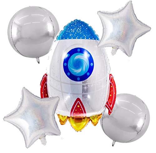 (Zeylo Party Supply Space Rocket Theme Foil Mylar Balloons Set)