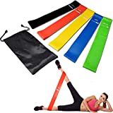 Vinsco Exercise Loop Bands Resistance Loops [12 inch] [Set of 5] for Women Men Booty Hip Butt Legs Ankle Squats Strength Training Workout Home Gym Fitness Yoga Pilates Physical Therapy w/Carry Bag