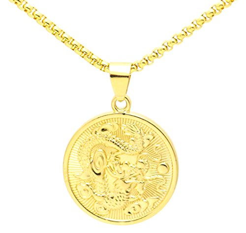 Fusamk Hip Hop 18K Alloy Dragon Round Tag Pendant Necklace with Chain