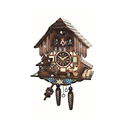 Engstler Quartz Cuckoo Clock with Musik Black Forest house with moving beer drinkers and mill wheel EN 464 QMT