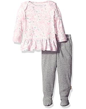 Baby Girls' Watercolor Organic Dress + Pant Set