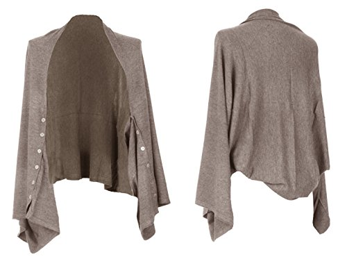 Mesdames Cachemire Womens bouton Lagenlook chale Multiway Poncho Shrug Cardigan tricot excentrique superposition aFxaRw