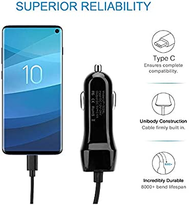 Cargador para el coche con puerto micro USB tipo C compatible con Samsung Galaxy A20/A30/A40/A50/A60/A70/A80 Carga rápida de 2,4 amperios Cable en 1 ...
