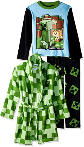 Minecraft Boys' Big 3-Piece Robe Pajama Set, Green Creeper, 10 -