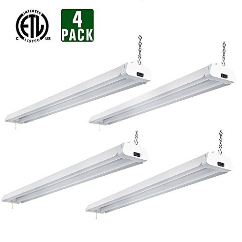 Hykolity 4ft 42 Watt LED Shop Light Garage Workbench Ceiling Lamp 5000K Daylight White 3700 Lumens Linkable Lamp Fixture 64w Fluorescent Equivalent-Pack of 4