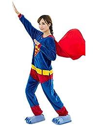 I'MQueen Unisex Superman Onesie Adult Pajamas Flannel Cosplay Costumes Homewear