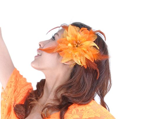 [AvaCostume Belly Dance Costume Accessory Flower Hair Clip with Feathers Orange] (Cute Costumes For Dance)