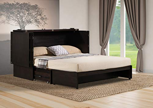 Emurphybed Daily Delight Murphy Cabinet Chest Bed with Charging Station & Gel-Infused Mattress, Queen, Java