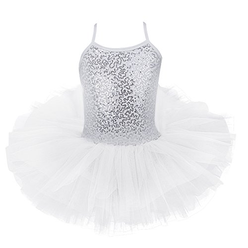 iEFiEL Girls Camisole Sequins Ballet Tutu Dress Gymnastic Dance Leotard Skirt Dancewear Costume White - Dance Dress Camisole